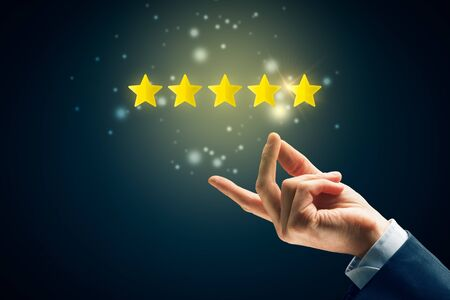 Feedback, review and increase rating concepts. Magic of high quality is easy as snap fingers.