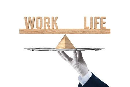 Work life balance solution on a silver platter concept. Personal coach helps with work life balance.