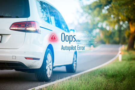 Car autopilot software error concept. Immobile intelligent autonomous car due to software error stands at side of the road. Software failure and its impact to autonomous vehicle concept. Imagens