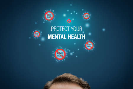 Protect your mental health in covid-19 crisis times (during lockdown and quarantine) concept. Don't read an excessive number of news about coronavirus. Stock Photo