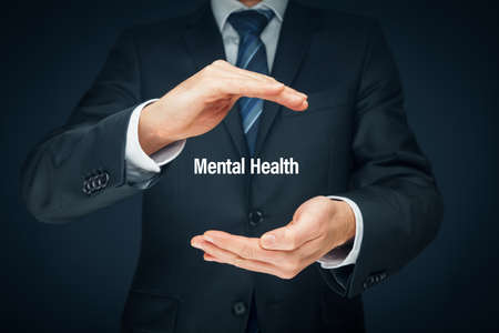 Protect your mental health psychology concept. Psychologist with protective hand gesture and text mental health.