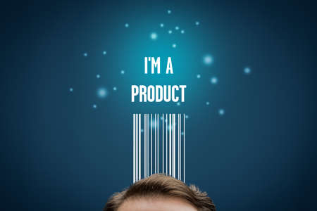 I am a product - modern business model with personal data. Data is used for individual customized marketing and internet advertising targeting. Self-confident personal branding concept.