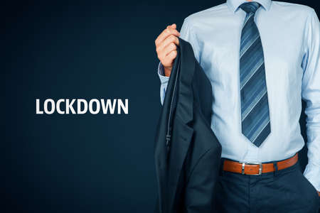 Lockdown in covid epidemic times concept. Stay at home, quarantine and closing business. Manager take business suit off.