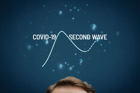 Investor or manager predict if there will be the second wave of covid-19 concept. Post-covid-19 era prediction in business and investment and fear of second wave of pandemic.