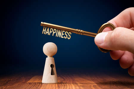 Key to your happiness – unlock your potential to be happy and satisfied. Personal development concept.