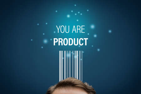 You are product – modern business model with personal data. Data is used for individual customized marketing and internet advertising targeting. If service is free, your data is product of service. Zdjęcie Seryjne