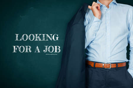 Manager looking for a job after corona crisis concept. Unemployed manager due to coronavirus crisis looking for a new job.