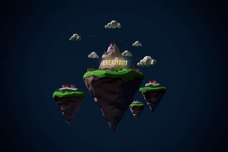 The land of creativity. Low poly 3D render islands with small village and shining text creativity into the night. Imagens