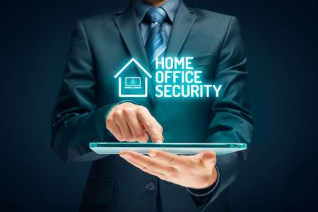 Cybersecurity concept with home office in covid-19 epidemic times. Danger of unsecured computers used in home offices.