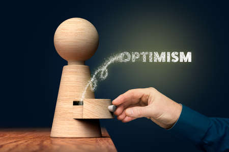 Open your mind to be optimistic concept. Key to your success is in your hand, open your potential through optimism.