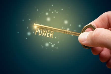 Key to your power motivational concept. Leadership skills improvement and personal development concept. Imagens