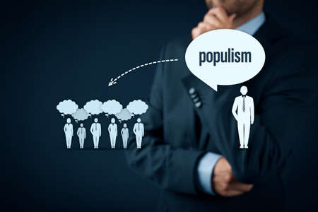 Populism and political marketing impact concept. Populism is the way how to easily get votes.
