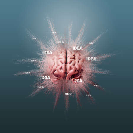 Creativity, idea, mind blown and brainstorming concepts. Human brain floating on a blue background, 3D render.