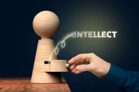 Open power of your intellect concept, motivational personal development concept. Imagens