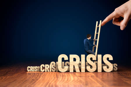 Crisis manager helps to growth after virus crisis. Motivation to growth after crisis concept. Post virus era crisis management helping hand concept with businessman climb the ladder.