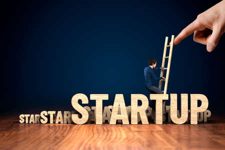 Business angel helps startup business to growth. Motivation to growth after crisis concept, management helping hand concept with businessman climb the ladder.