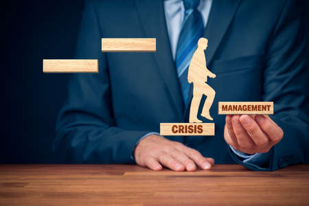 Crisis manager helps to growth after pandemic crisis. Motivation to growth after crisis concept.