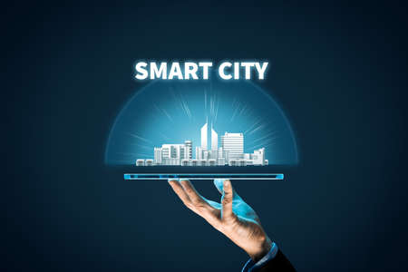 Smart city concept - communication technology (ICT) and Internet of things (IoT) technology integrated to manage city asset.
