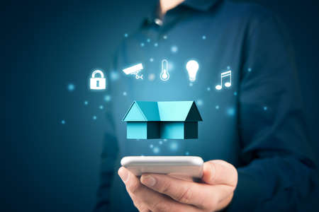 Smart home, intelligent house, and home automation app security concept. Smart home app on smart phone.