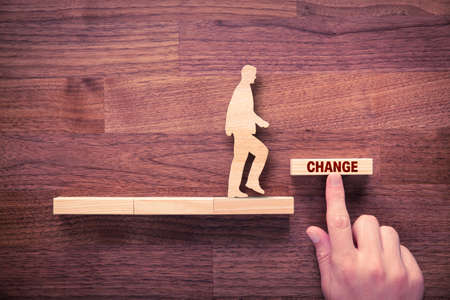Change is your chance motivational concept. Mentor motivate to change and to take opportunity in post era after pandemic, flat lay top down view design. Foto de archivo