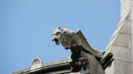 grotesque: Gargoyle from the sacre coeur, Paris