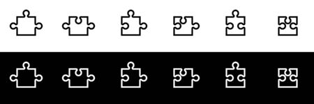 Puzzle icon set. Flat design icon collection isolated on black and white background. Side piece puzzle.
