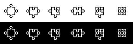 Puzzle icon set. Flat design icon collection isolated on black and white background. Middle piece puzzle.