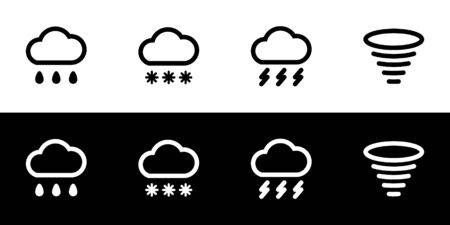 Bad weather icon set. Flat design symbol collection isolated on black and white background. Heavy rain, snowstorm, thunderstorm, and hurricane. Weather forecast warning. 向量圖像