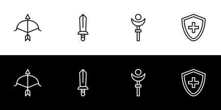 Game character job or class icon set. Flat design icon collection isolated on black and white background. Archer, sword, wand, and shield. Hunter, fighter, mage, and tanker.