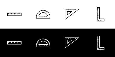 Ruler shape icon set. Flat design icon collection isolated on black and white background.
