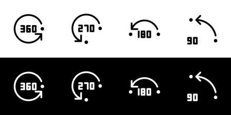 Angle of rotation icon set. Flat design icon collection isolated on black and white background.