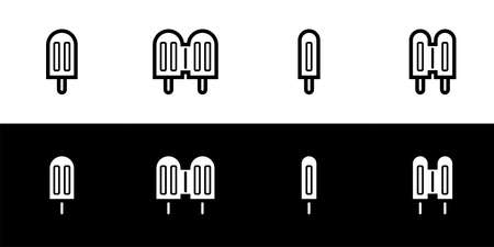 Popsicle icon set. Flat design symbol collection isolated on black and white background. Double popsicle. Classic ice cream stick.