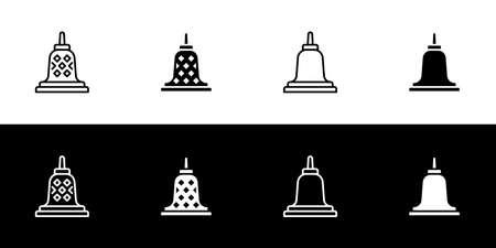 Stupa icon set. Flat design icon collection isolated on black and white background. Buddhist symbolism. Historical monument.