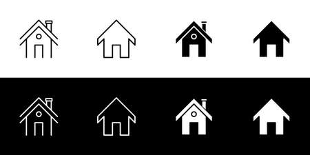 Home icon set. Flat design icon collection isolated on black and white background.