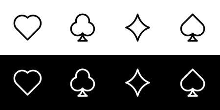 Card symbol icon set. Flat design icon collection isolated on black and white background. Heart, diamond, club, and spade.
