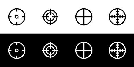 Aim target icon set. Flat design icon collection isolated on black and white background. Lock target and scope. Illustration