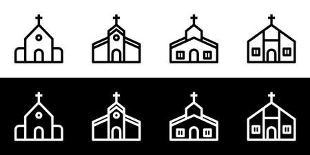Church icon set. Flat design icon collection isolated on black and white background. Vettoriali
