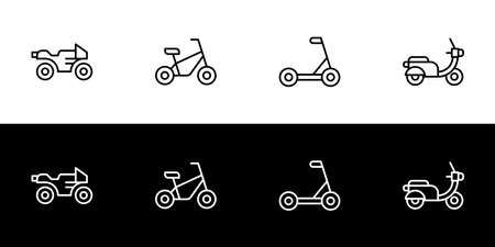 Two wheeled vehicles icon set. Flat design icon collection isolated on black and white background. Motorcycle racing, bicycle, scooter, and classic motorcycle.