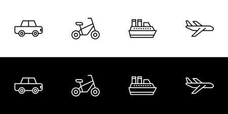 Transportation type icon set. Flat design icon collection isolated on black and white background. Car, bike, ship, and plane. Ilustracja