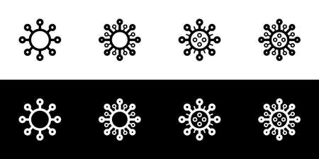 Virus icon set. Flat design icon collection isolated on black and white background. Abstract corona virus.