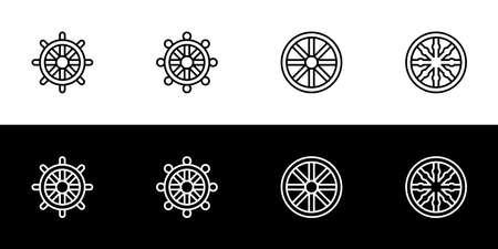 Eight spoked wheel icon set. Flat design icon collection isolated on black and white background. Buddhist symbolism. 向量圖像
