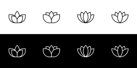 Lotus icon set. Flat design icon collection isolated on black and white background. Buddhist symbolism.