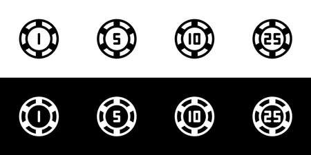 Poker chip icon set. Flat design icon collection isolated on black and white background.