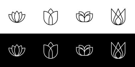 Flower icon set. Flat design icon collection isolated on black and white background. Lily, rose, cherry blossom, and tulip.