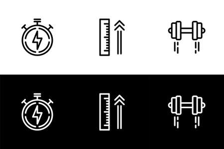 Faster, higher, and stronger icon set. Flat design icon collection isolated on black and white background. Competition and tournament. 矢量图像