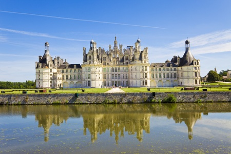 Panoramic of Chambord Chateau reflected in the canal, France Editorial