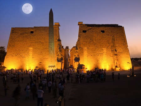 thebes: Luxor temple under moonlight, Thebes. Egypt