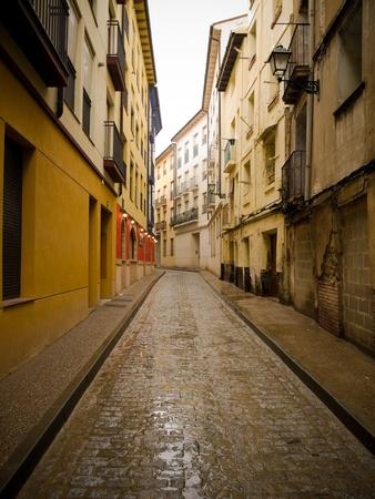 Calatayud street at a raining day  Zaragoza, Spain
