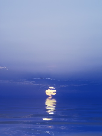 Blue sunset reflected in water photo