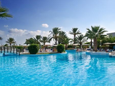бассейн: Расслабляющий бассейн окруженный пальмами